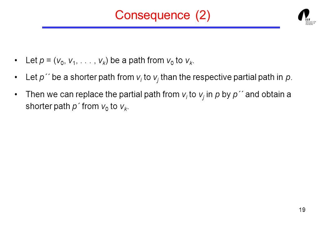19 Consequence (2) Let p = (v 0, v 1,..., v k ) be a path from v 0 to v k.