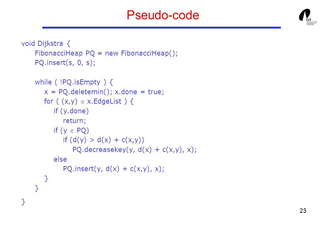 23 Pseudo-code void Dijkstra { FibonacciHeap PQ = new FibonacciHeap(); PQ.insert(s, 0, s); while ( !PQ.isEmpty ) { x = PQ.deletemin(); x.done = true; for ( (x,y)  x.EdgeList ) { if (y.done) return; if (y  PQ) if (d(y) > d(x) + c(x,y)) PQ.decreasekey(y, d(x) + c(x,y), x); else PQ.insert(y, d(x) + c(x,y), x); } } }