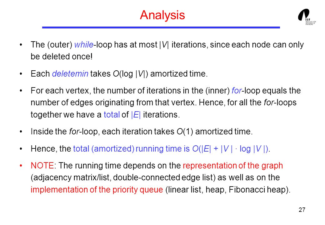 27 Analysis The (outer) while-loop has at most |V| iterations, since each node can only be deleted once.