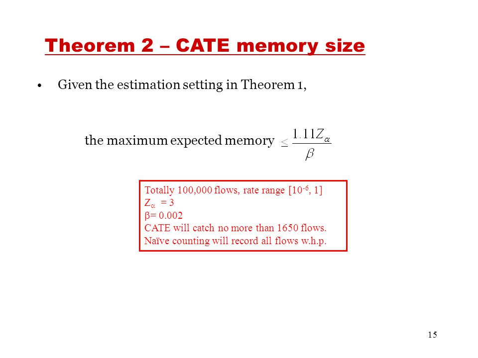 15 Given the estimation setting in Theorem 1, the maximum expected memory Theorem 2 – CATE memory size Totally 100,000 flows, rate range [10 -6, 1] Z  = 3  = 0.002 CATE will catch no more than 1650 flows.