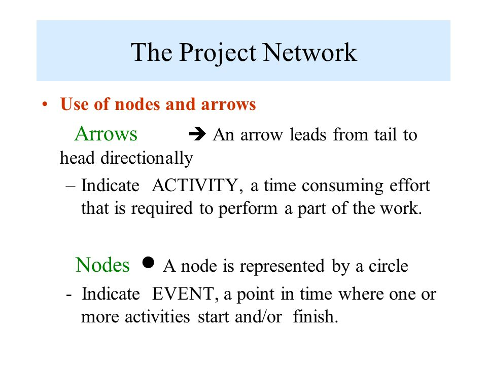 The Project Network Use of nodes and arrows Arrows  An arrow leads from tail to head directionally –Indicate ACTIVITY, a time consuming effort that i