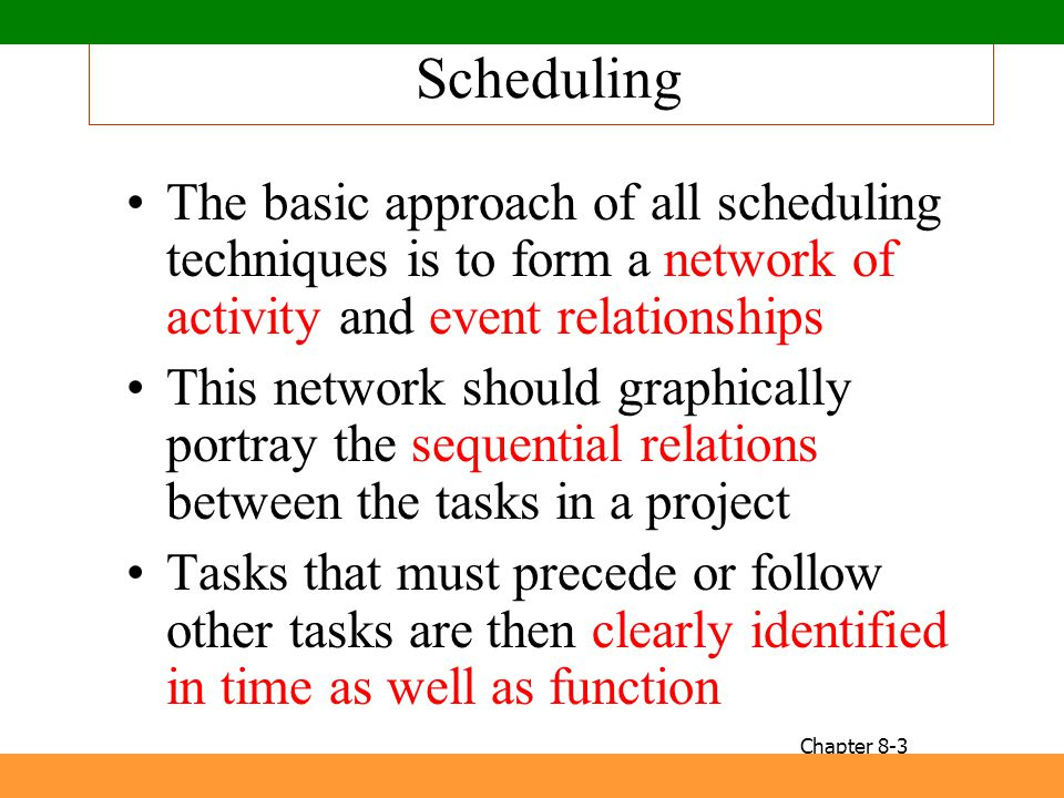 Scheduling The basic approach of all scheduling techniques is to form a network of activity and event relationships This network should graphically po