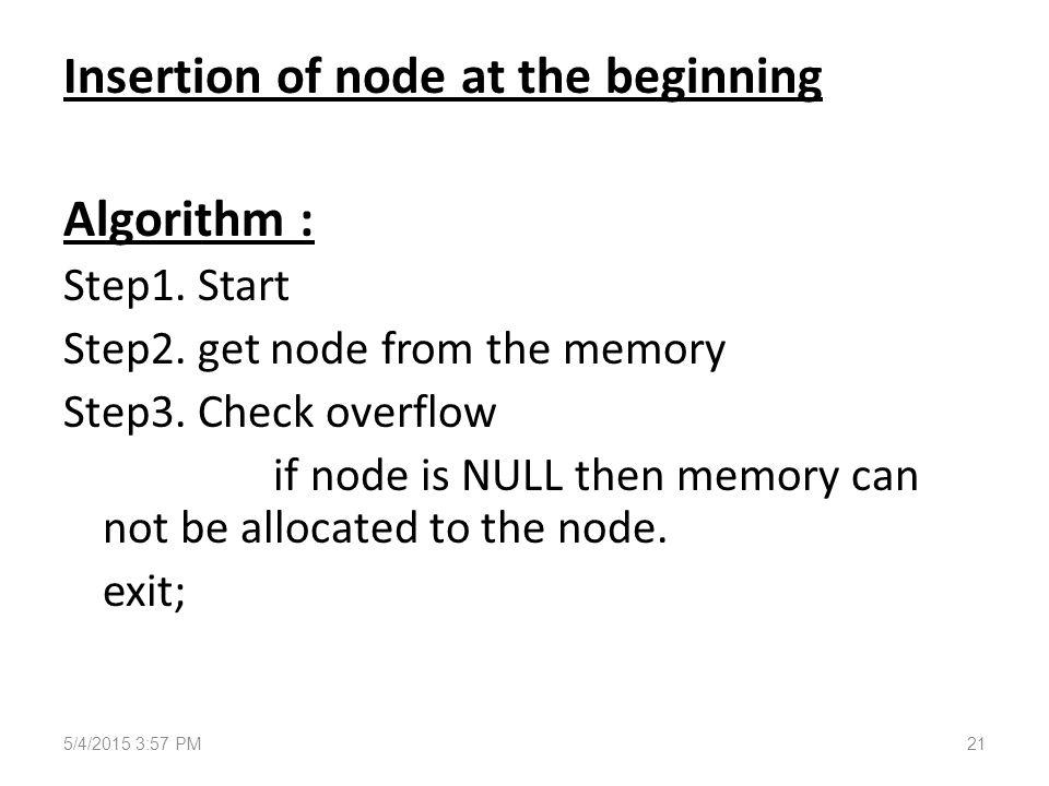 Insertion of node at the beginning Algorithm : Step1.