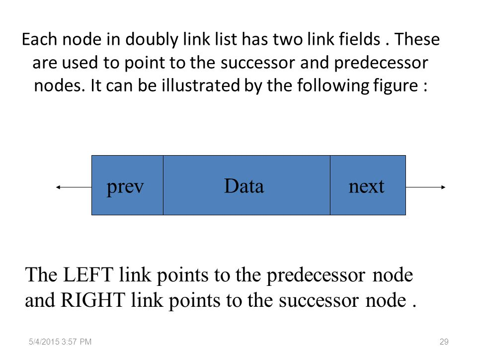 Each node in doubly link list has two link fields.