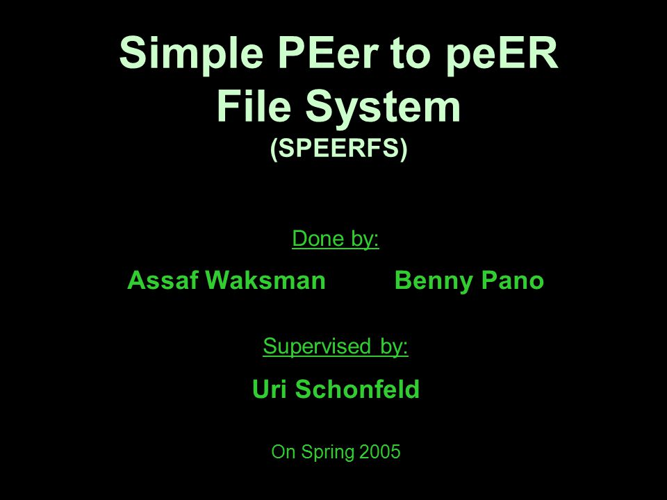System's Packages Were made: chord – supports the ChordPeer class com – supports communication operations misc – stores helper classes scome – supports the ScomePeer class Was altered: nfsserver – implements an NFS server and contains the main method Was used: org.acplt.oncrpc – implements the RPC mechanism needed by the NFS server