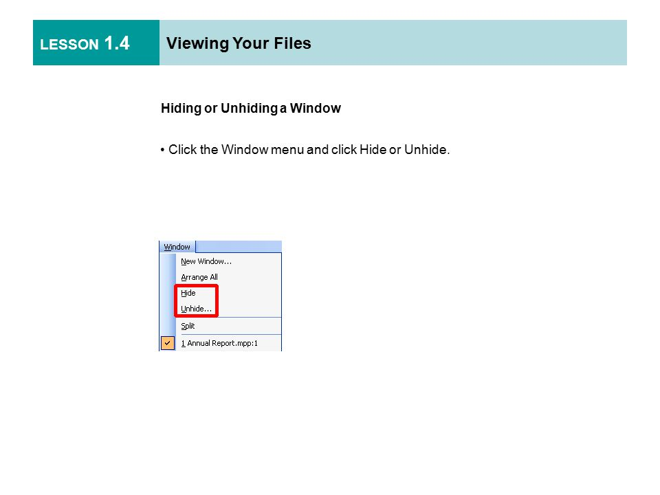 LESSON 1.4 Viewing Your Files Hiding or Unhiding a Window Click the Window menu and click Hide or Unhide.