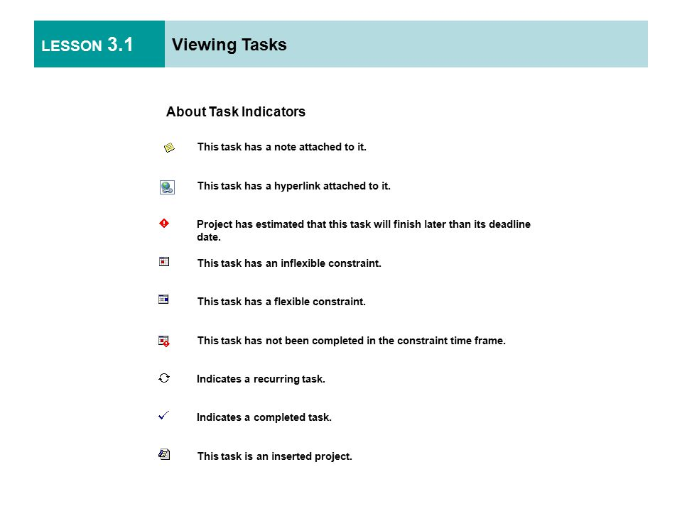 LESSON 3.1 Viewing Tasks About Task Indicators This task has a note attached to it.