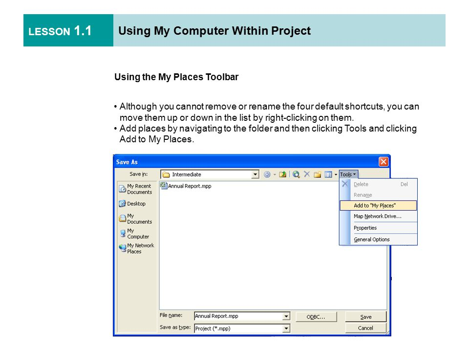LESSON 1.2 Saving Files Using File Formats Click the File menu and click Save As.
