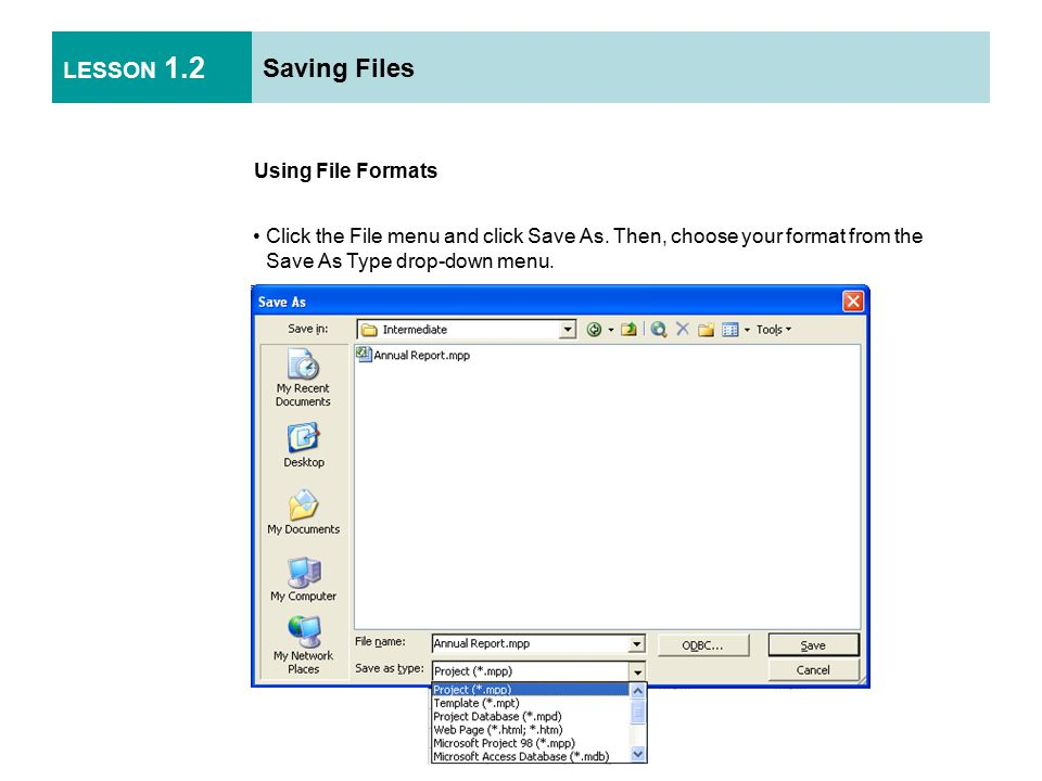 LESSON 1.2 Saving Files Using File Properties Click the File menu and click Properties.