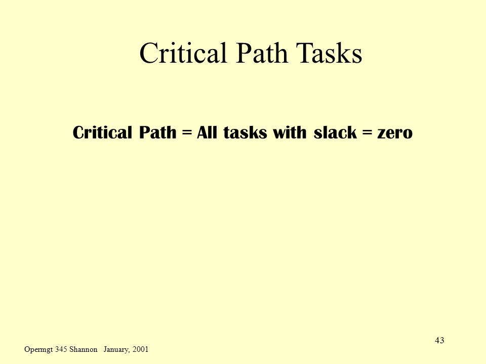 Opermgt 345 Shannon January, 2001 43 Critical Path Tasks Critical Path = All tasks with slack = zero
