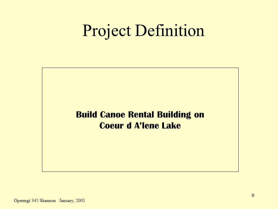 Opermgt 345 Shannon January, 2001 9 Project Definition Build Canoe Rental Building on Coeur d A'lene Lake