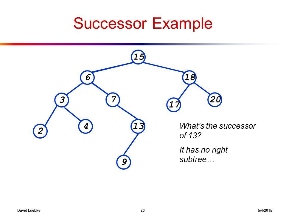 David Luebke 23 5/4/2015 Successor Example 15 618 207 3 13 2 4 9 17 What's the successor of 13.