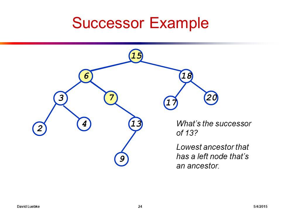 David Luebke 24 5/4/2015 Successor Example 15 618 207 3 13 2 4 9 17 What's the successor of 13.