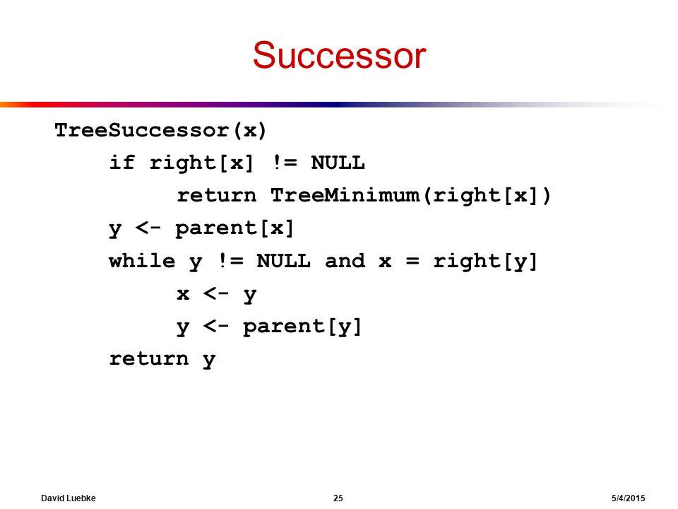 David Luebke 25 5/4/2015 Successor TreeSuccessor(x) if right[x] != NULL return TreeMinimum(right[x]) y <- parent[x] while y != NULL and x = right[y] x <- y y <- parent[y] return y