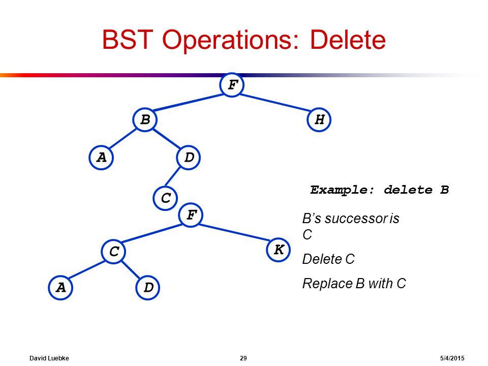 David Luebke 29 5/4/2015 BST Operations: Delete F BH DA C Example: delete B F C K DA B's successor is C Delete C Replace B with C