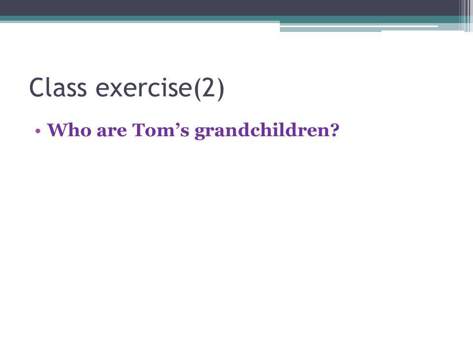 Class exercise(2) Who are Tom's grandchildren?
