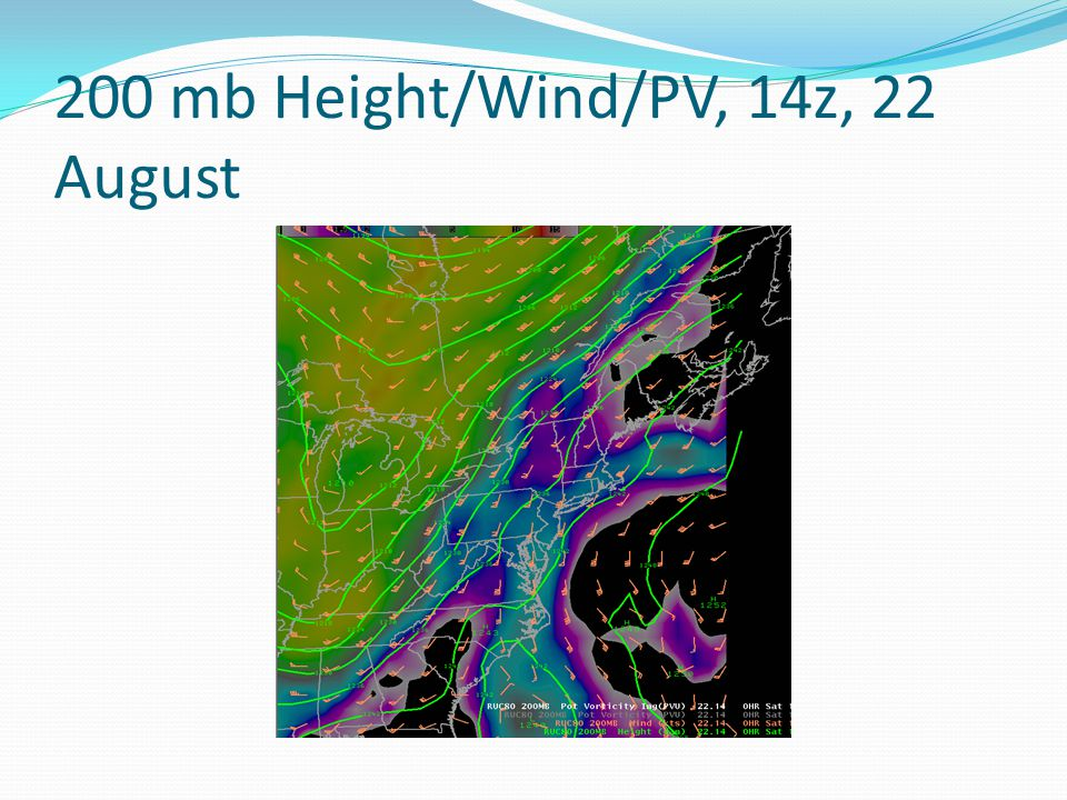 200 mb Height/Wind/PV, 14z, 22 August