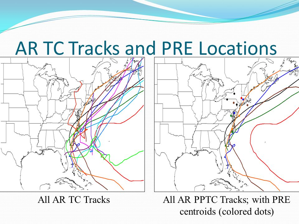 AR TC Tracks and PRE Locations All AR TC TracksAll AR PPTC Tracks; with PRE centroids (colored dots)
