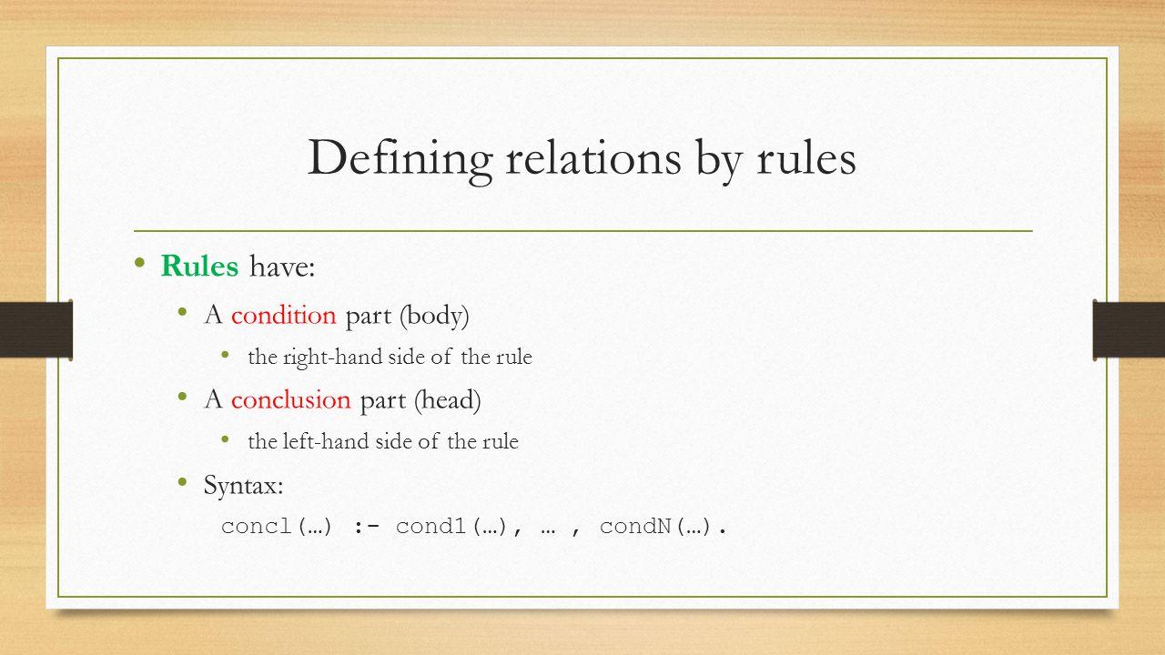Rules Define the offspring relation: Fact: offspring( liz, tom).