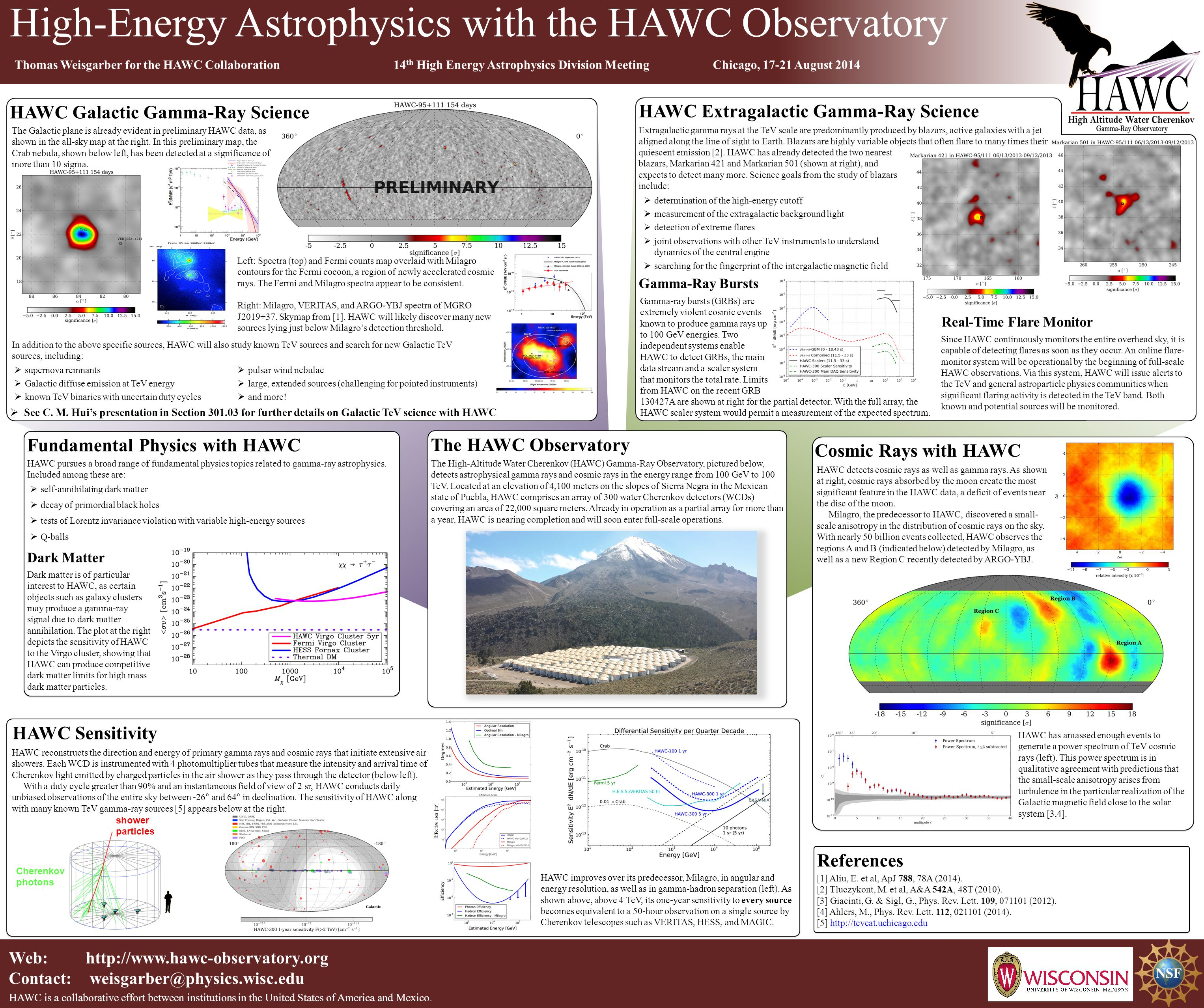 Web: http://www.hawc-observatory.org Contact: weisgarber@physics.wisc.edu HAWC is a collaborative effort between institutions in the United States of America and Mexico.