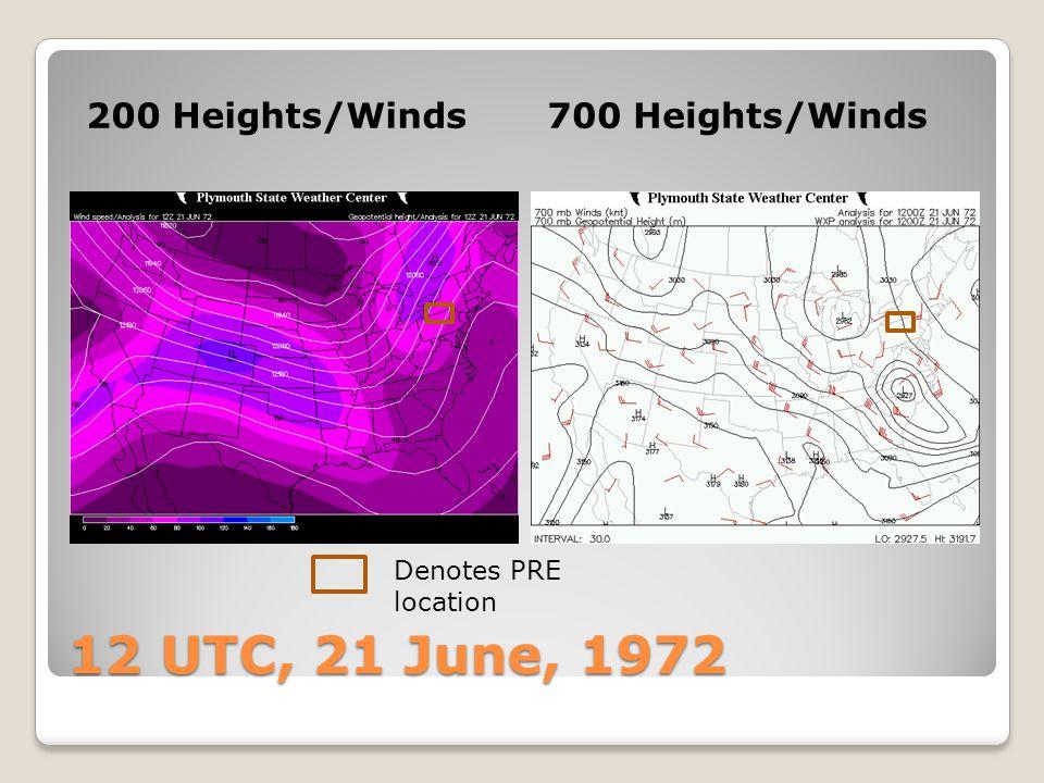 12 UTC, 21 June, 1972 850 Heights/PWAT925 Heights/Theta-E Denotes PRE location Theta-e ridge axis