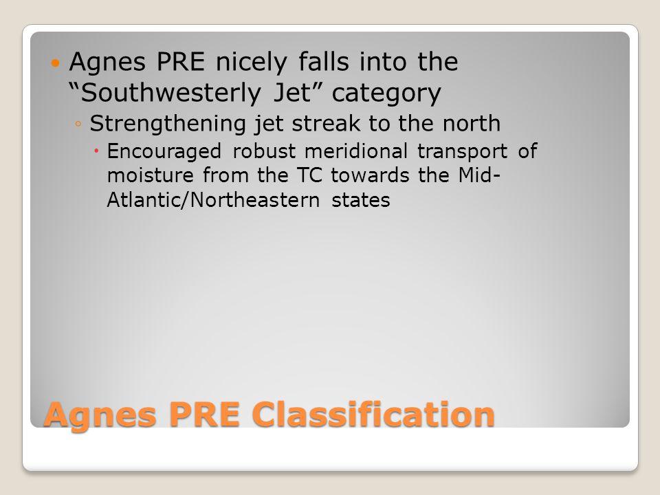 Upper-Level Flow / TC Position Comparison SW Jet PRE Composite 200 mb - Agnes L L