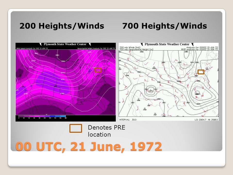 00 UTC, 21 June, 1972 850 Heights/PWAT925 Heights/Theta-E Denotes PRE location Theta-e ridge axis