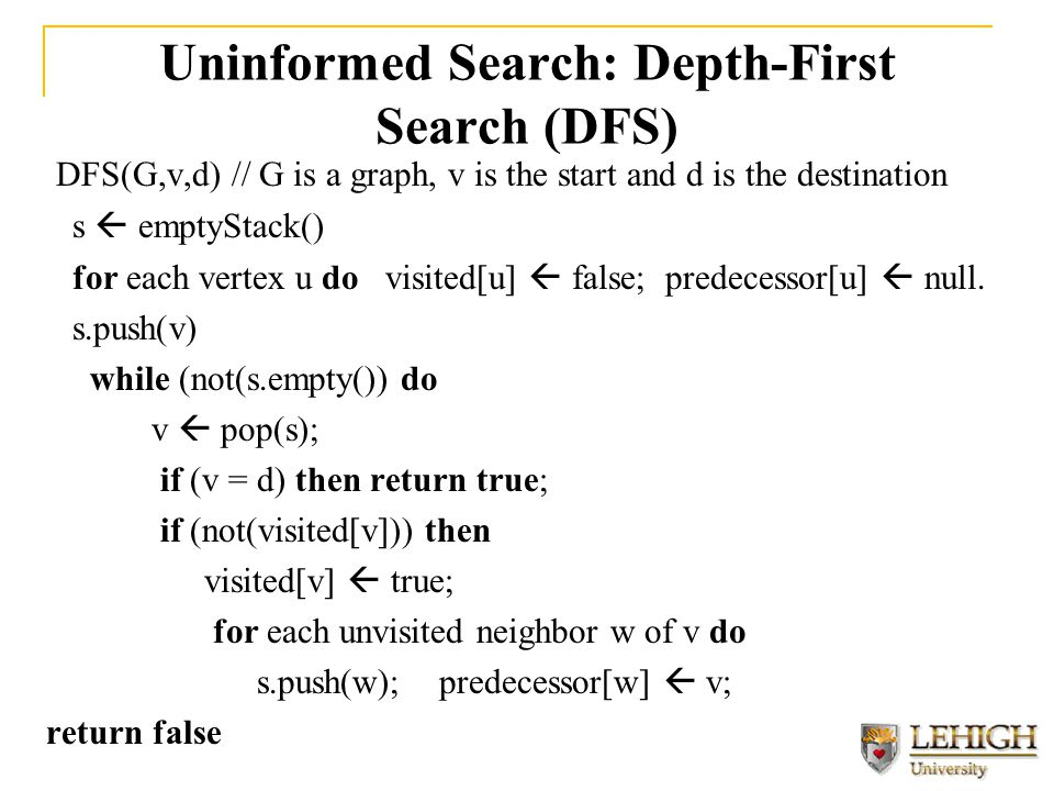 Uninformed Search: Depth-First Search (DFS) DFS(G,v,d) // G is a graph, v is the start and d is the destination s  emptyStack() for each vertex u do