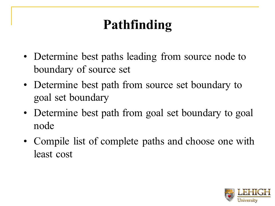Pathfinding Determine best paths leading from source node to boundary of source set Determine best path from source set boundary to goal set boundary Determine best path from goal set boundary to goal node Compile list of complete paths and choose one with least cost