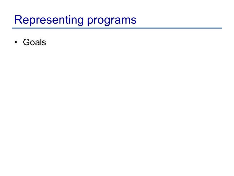 Representing programs Goals