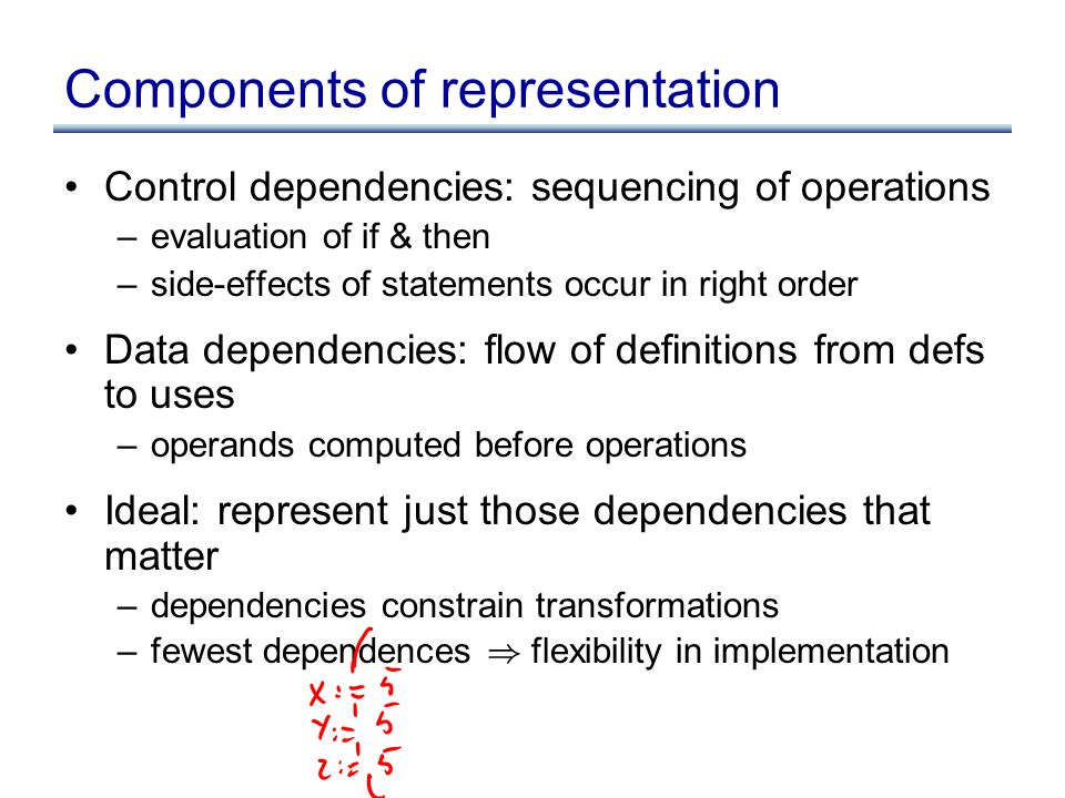 Components of representation Control dependencies: sequencing of operations –evaluation of if & then –side-effects of statements occur in right order Data dependencies: flow of definitions from defs to uses –operands computed before operations Ideal: represent just those dependencies that matter –dependencies constrain transformations –fewest dependences ) flexibility in implementation