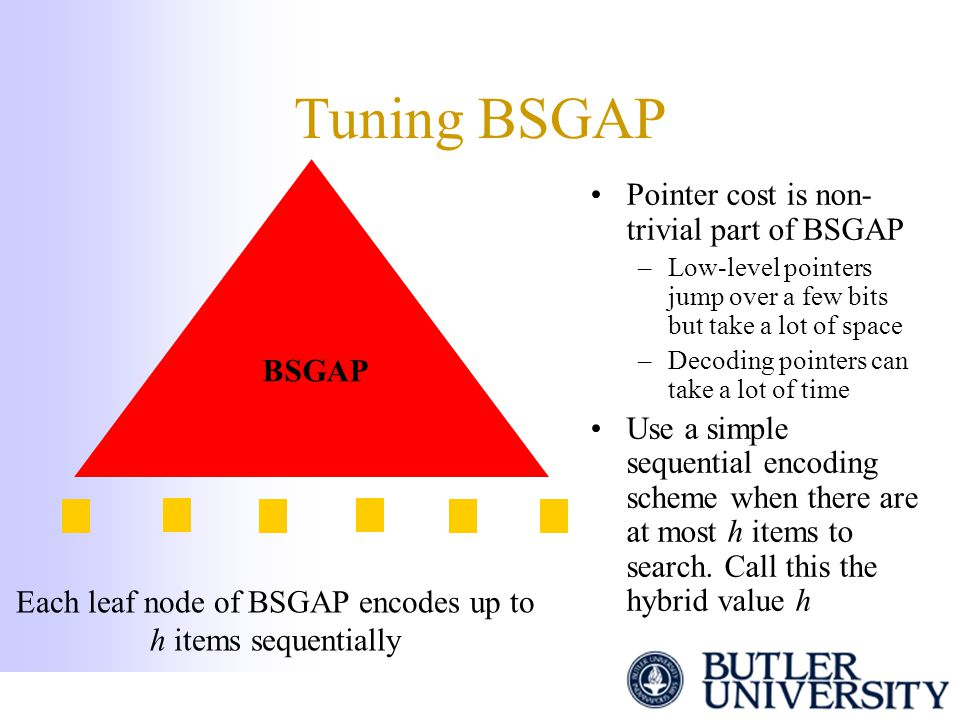 Tuning BSGAP Pointer cost is non- trivial part of BSGAP –Low-level pointers jump over a few bits but take a lot of space –Decoding pointers can take a