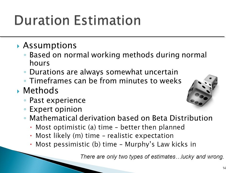 14  Assumptions ◦ Based on normal working methods during normal hours ◦ Durations are always somewhat uncertain ◦ Timeframes can be from minutes to weeks  Methods ◦ Past experience ◦ Expert opinion ◦ Mathematical derivation based on Beta Distribution  Most optimistic (a) time – better then planned  Most likely (m) time – realistic expectation  Most pessimistic (b) time – Murphy's Law kicks in There are only two types of estimates…lucky and wrong.