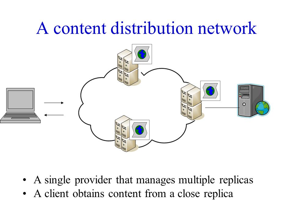 A content distribution network A single provider that manages multiple replicas A client obtains content from a close replica