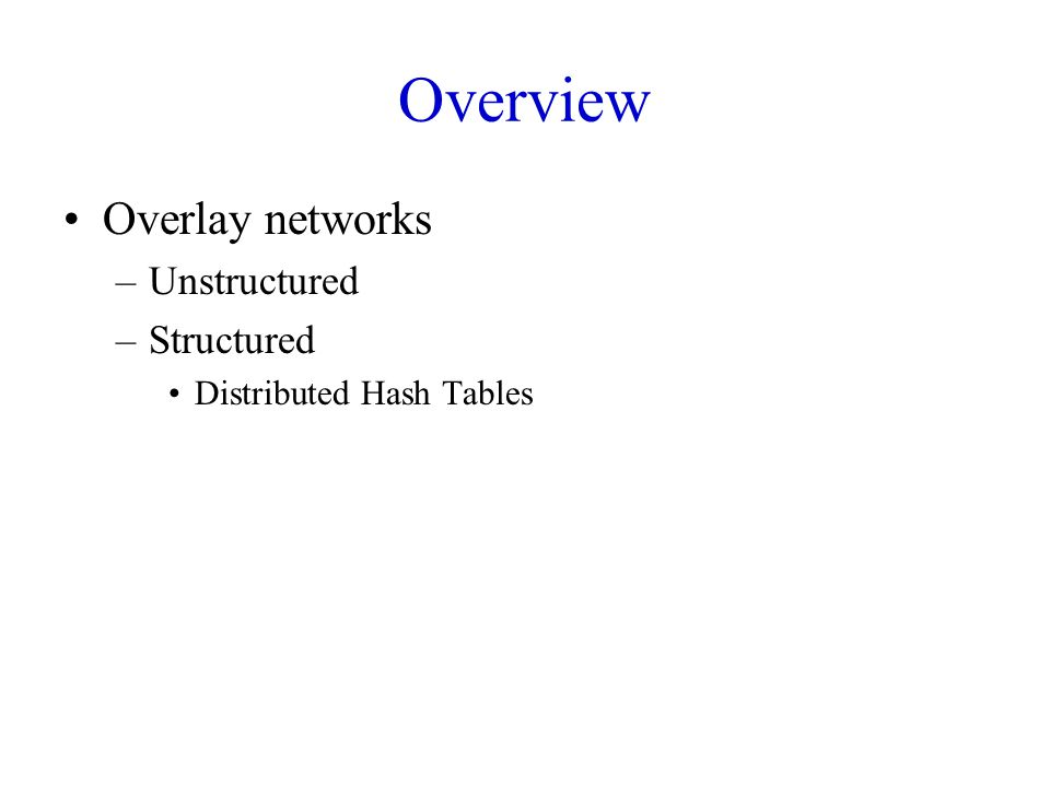 Conclusion Overlay networks –Structured vs Unstructured Design of DHTs –Chord