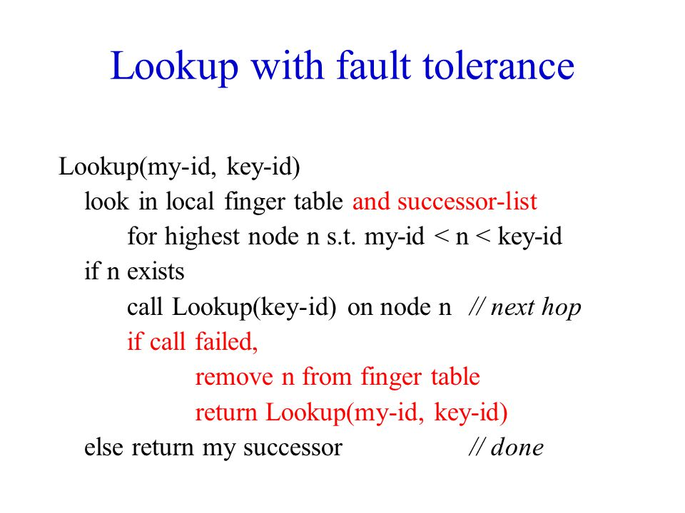 Lookup with fault tolerance Lookup(my-id, key-id) look in local finger table and successor-list for highest node n s.t. my-id < n < key-id if n exists