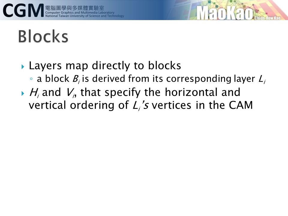  Layers map directly to blocks ◦ a block B i is derived from its corresponding layer L i  H i and V i, that specify the horizontal and vertical orde