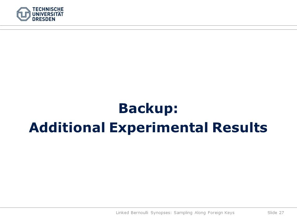 Backup: Additional Experimental Results Linked Bernoulli Synopses: Sampling Along Foreign KeysSlide 27