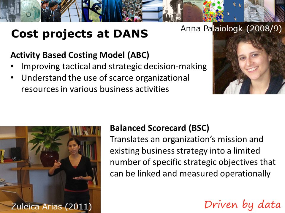 Cost projects at DANS Anna Palaiologk (2008/9) Zuleica Arias (2011) Activity Based Costing Model (ABC) Improving tactical and strategic decision-makin