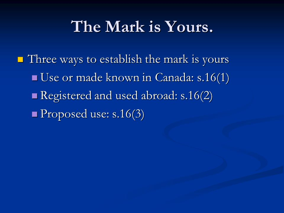 The Mark is Yours.