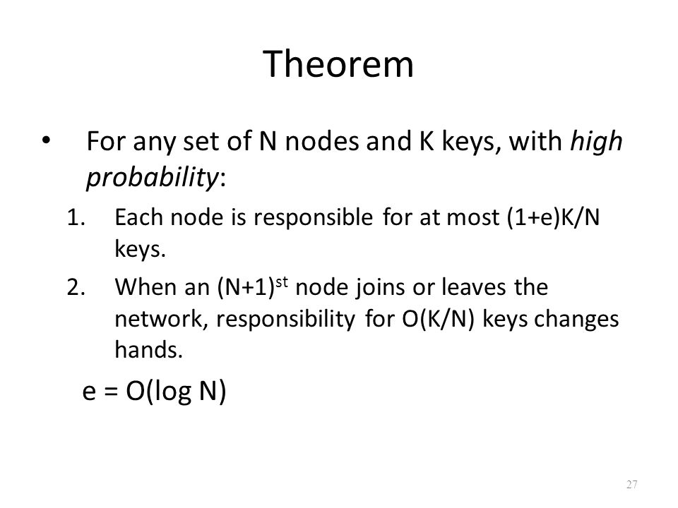 Theorem For any set of N nodes and K keys, with high probability: 1.Each node is responsible for at most (1+e)K/N keys.