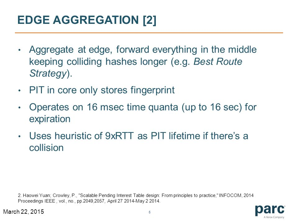DHT APPROACH [3] PIT is a DHT between line cards.Aggregate all similar Interests.