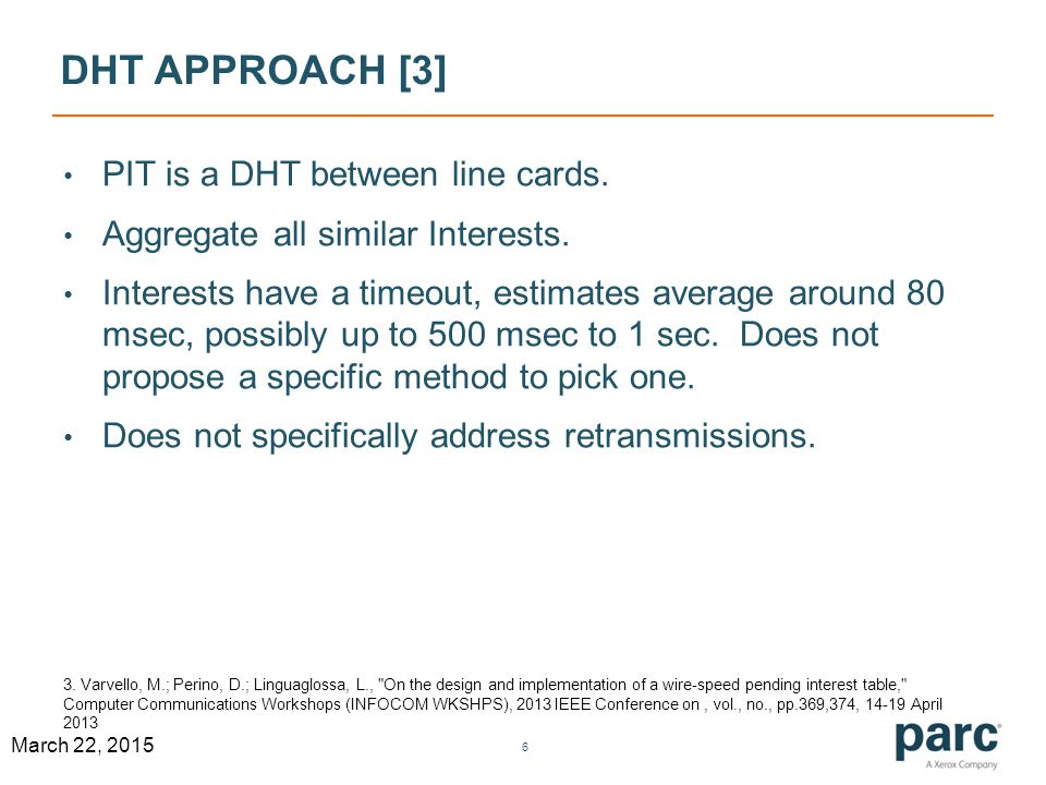 DHT APPROACH [3] PIT is a DHT between line cards. Aggregate all similar Interests.