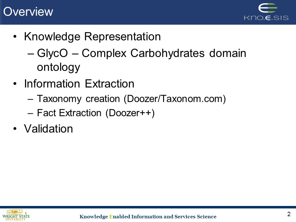 Knowledge Enabled Information and Services Science Overview Knowledge Representation –GlycO – Complex Carbohydrates domain ontology Information Extraction –Taxonomy creation (Doozer/Taxonom.com) –Fact Extraction (Doozer++) Validation 2