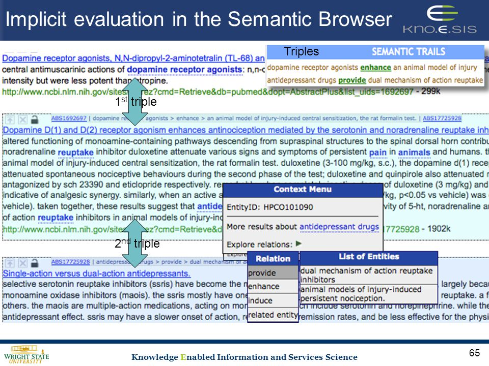 Knowledge Enabled Information and Services Science Implicit evaluation in the Semantic Browser 65 1 st triple2 nd triple Triples