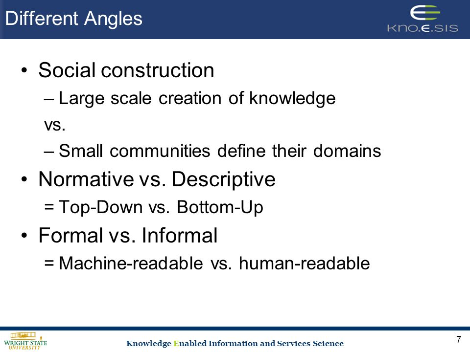 Knowledge Enabled Information and Services Science Different Angles Social construction –Large scale creation of knowledge vs.