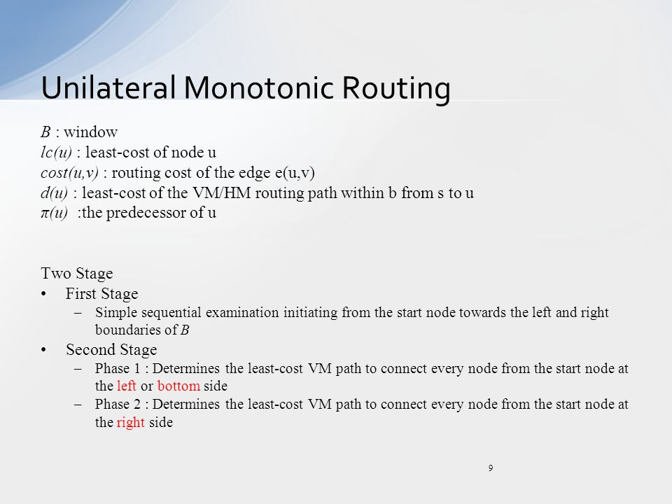 Unilateral Monotonic Routing 9 B : window lc(u) : least-cost of node u cost(u,v) : routing cost of the edge e(u,v) d(u) : least-cost of the VM/HM rout