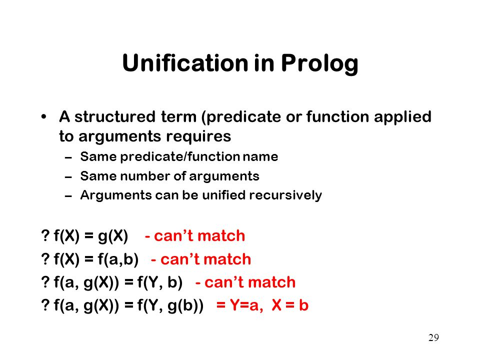 29 Unification in Prolog A structured term (predicate or function applied to arguments requires –Same predicate/function name –Same number of arguments –Arguments can be unified recursively .