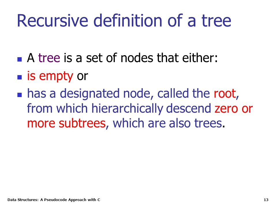 Data Structures: A Pseudocode Approach with C 13 Recursive definition of a tree A tree is a set of nodes that either: is empty or has a designated nod