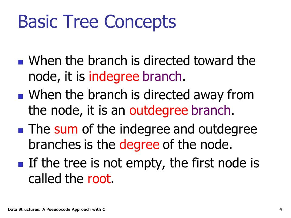 4 Basic Tree Concepts When the branch is directed toward the node, it is indegree branch. When the branch is directed away from the node, it is an out
